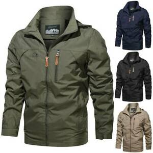 Men's Waterproof Military Jacket Hooded Breathable Tactical Casual Coats Outwear