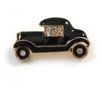 Small Vintage Retro Classic 1920's 30's Black Enamel Car Brooch In Gold Tone Met