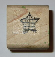 Star Rubber Stamp Quilted Button Stampin' Up! Wood Mounted