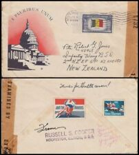 """US 1943 5c BELGIUM FLAGSTAMP COVER """"JOIN THE MARINES"""" LABEL TO NEW ZEALAND"""