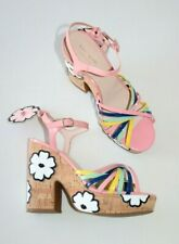 Womens KATE SPADE Size 8.5 Gerry Platform Sandal Hippie Floral Pink Shoes