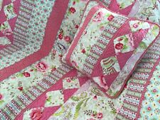 2 pc Stella Shabby Chic Pink Floral Girls Quilted Cotton Throw Rug & Cushion Set