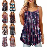 Womens Sexy Sleeveless Floral Vest Ladies Cami Boho Loose Frill Tank Tops Blouse