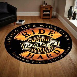 Harley Davidson 1 Round Carpet, Fan Carpet Non Slip Floor Carpet,Teen's,Kids Rug
