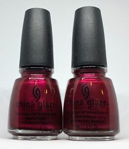 China Glaze Nail Polish Vertical Rush 635 Raspberry Wine Red Shimmer Lacquer