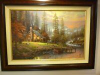 "Thomas Kinkade  canvas ""A Peaceful Retreat"" 18"" X 27"" Mint, Burl, S/N W/COA"