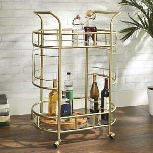 Bar Drink Serving Cart Rolling Glass Shelves 3 Bottle Rings Elegant Gold NEW