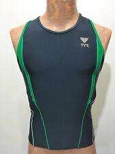 TYR Mens M Blue Green White Sleeveless Bike Cycling Jersey Form-Fitting