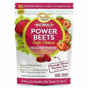 Healthy Delights Power Beets Soft Chews-Strawberry Burst Flavor- 30 Soft Chews