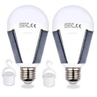 LED Solar Powered Bulb 12W Portable Tent Camping Lamp Light Garden Rechargeable