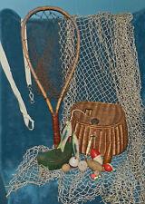 FABULOUS ANTIQUE VTG FISHING EQUIPMENT LOT! CREEL, NET, BOBBERS, FISH, DISPLAY 5