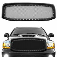 Matte Black Mesh Grille+Rivet+Shell fit 06-08 Dodge RAM 1500 06-09 RAM 2500/3500