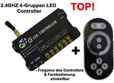2.4GHZ Funk LED Strip Streifen Controller Dimmer 12V 24V Gruppen Räume einstellb