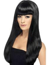 Babelicious Perruque noir Longue droite avec Frange Femmes Déguisement Accessoire