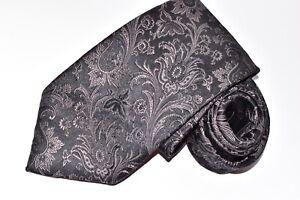 """Authentic Brioni dis 10707 Floral Black Silk Men's Neck Tie W: 3 3/4"""" L: 62"""""""