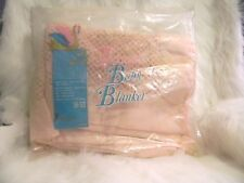 Vintage Penneys Toddle Time Thermal Baby Blanket Pink Cotton Satin RN 13852