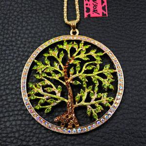 Betsey Johnson Green Rhinestones Lovely Hope Tree Crystal Pendant Necklace