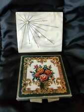Vtg Compacts Lot 2 Petit Point Floral Mirror & Mother Of Pearl w/ Rhinestones