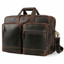 """Vintage Leather 17"""" Laptop Briefcase Travel Shoulder Bag Satchel Luggage Holdall"""
