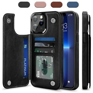 For iPhone 12 13 Pro Max/Mini/Pro Case Leather Card Wallet Slot Kickstand Cover