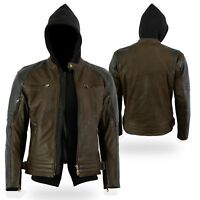 Bikers Gear Craig Nubuck Waxed Brown Leather Motorcycle Armoured Hoodie Jacket