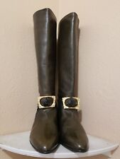 Contempo Shoes Size 4.5 US 35.5 Knee Leather Boots Superb Handmade Italian Brown