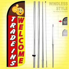 Trade Ins Welcome - Windless Swooper Flag Kit 15' Tall Feather Banner Sign ryq-h