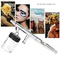 Set of Siphon Feed Dual-Action Airbrush For Hobby Painting Craft 0.5mm 22cc T2E3