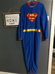 Superman DC Comics Mens Medium One Piece Pajamas Costume Detachable with Cape