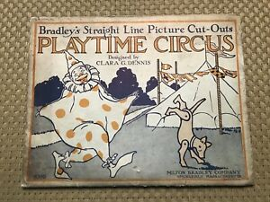 Antique 1919 Milton Bradley's Picture Cut-Outs Playtime Circus Unused Paper Toys