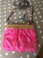 Lovely Hand Made Small Full Shoulder Bag Pink Butterflies Zip Up Summer Festival