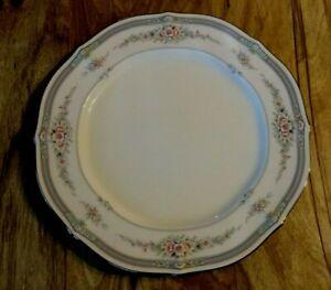 10 Noritake Rothschild Pattern Dinner Plates Ivory 7293 Platinum Trim Japan