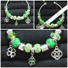 Open Bangle Celtic Charms &Green Beads OOK Handmade Christmas #22