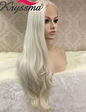 K'ryssma Naurual Wavy White Blonde Lace Front Wigs Realistic Looking Synthetic