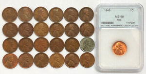 Wheat Penny Collection 1909-VDB 1921-S BU Steel 25 Coins Lot All Different Dates