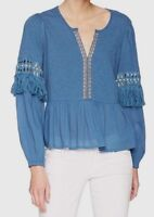 Lucky Brand Womens Cutout Woven Lace Peasant Top Blouse Small Blue