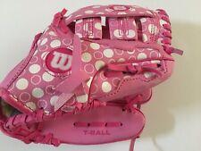 """WILSON Girls T-Ball Mitt Glove Pink A300 Series A0150 T95 9.5"""" EUC!"""