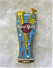 HARD ROCK CAFE NO LOCATION PILSNER GLASS WITH SAXOPHONE & TRUMPET PIN # 16903