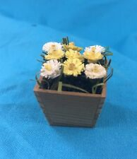 Miniature Dollhouse Square Wooden Flower Pot w/ Flowers Yellow and White Flowers