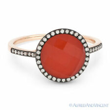 2.61 ct Red Agate & White Topaz Doublet Diamond Halo Pave Ring in 14k Rose Gold