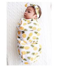 Toddler Newborn Baby Swaddle Blanket Soft Sleeping Swaddle Muslin Wrap Headband