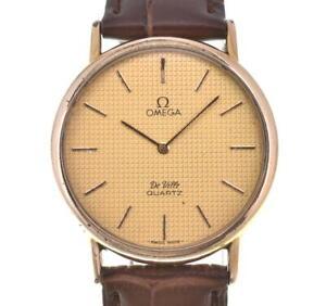OMEGA de vill GP/Leather Gold Dial Push-type crown Quartz Men's Watch J#103261