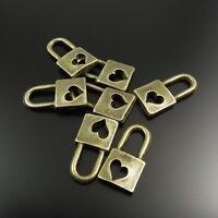 80X Antique Style Bronze Tone Alloy Heart Lock Pendant Charm 8*6*2mm