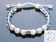 Leo Moonstone Rock Crystal Birthstone Bracelet 7-8'' Macrame Healing Stone
