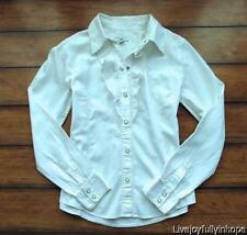 THE GAP ~ Size Medium ~ White RUFFLE Front CLICK-SNAP Fitted Cotton Shirt