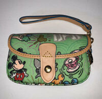 Dooney Bourke Disney Green Sketch Wristlet Retired Excellent Placement Purse