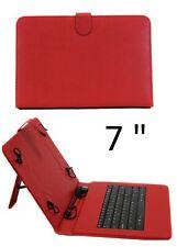 """Funda con teclado tablet 7"""" Universal Teclado español Ñ Piel Sintética Roja"""