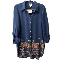 Anthropologie Fig & Flower Shirt Top Blouse Blue Silky Rayon Blend Plus Size 1X