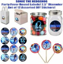 """Sonic Stickers 2.5"""" Round Party Favors Decorations Gift Bags Boxes - 12"""