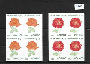 """SMT, Monaco, 1992, Stamp Exhibition imperf """"Roses"""", in block of 4, MNH"""
